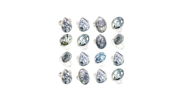pinolith jasper stone natural gemstone cabochon 925 sterling silver ring