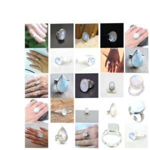 rainbow moonstone natural gemstone cabochon 925 sterling silver ring