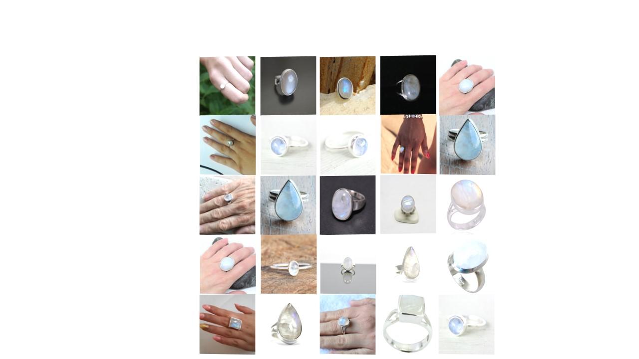 rainbow moonstone natural gemstone cabochon 925 sterling silver ring