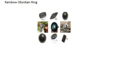 rainbow obsidian stone natural gemstone cabochon 925 sterling silver ring