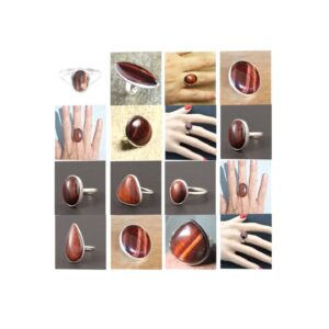 red tiger eye stone natural gemstone cabochon 925 sterling silver ring