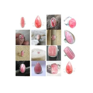 rhodochrosite stone natural gemstone cabochon 925 sterling silver ring
