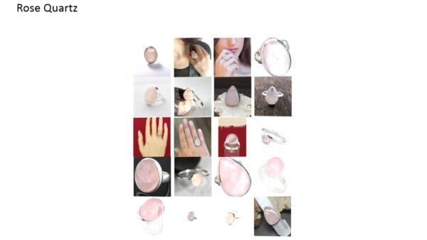 rose quartz stone natural gemstone cabochon 925 sterling silver ring