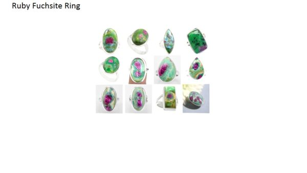 ruby in fuchsite stone natural gemstone cabochon 925 sterling silver ring