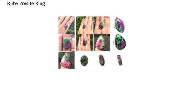 ruby zoisite stone natural gemstone cabochon 925 sterling silver ring
