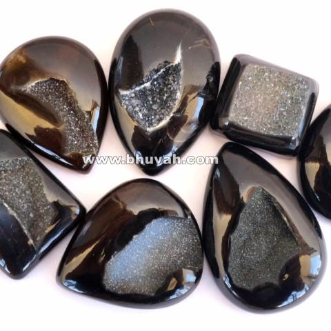 black agate druzy stone gemstone cabochon 10 pieces price