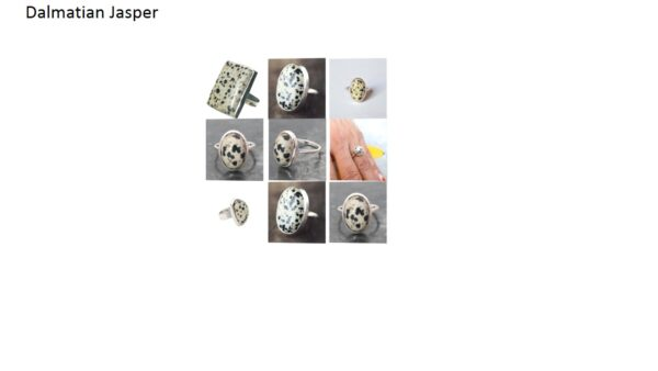 dalmatian jasper stone natural gemstone cabochon 925 sterling silver ring