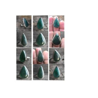 green aventurine stone natural green gemstone cabochon 925 sterling silver ring