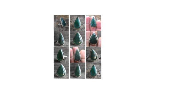 green aventurine stone natural green gemstone cabochon 925 sterling silver ring