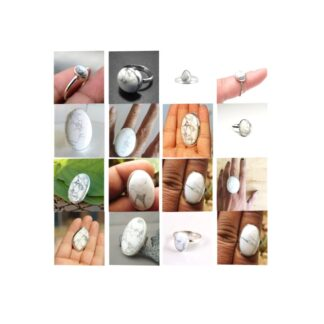 howlite stone natural gemstone cabochon 925 sterling silver ring