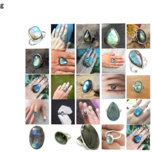 labradorite stone natural gemstone cabochon 925 sterling silver ring