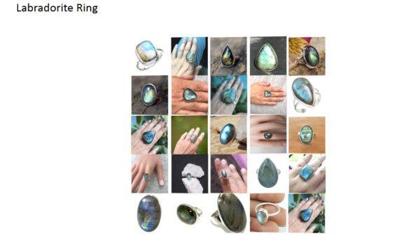 labradorite stone natural gemstone cabochon 925 sterling silver ring
