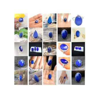 lapis lazuli stone natural gemstone cabochon 925 sterling silver ring