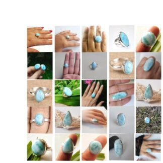 larimar stone natural gemstone cabochon 925 sterling silver ring