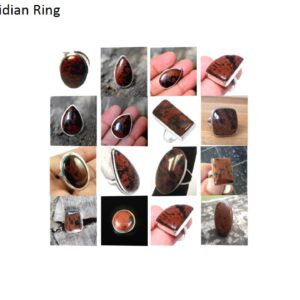 mahogany obsidian stone natural gemstone cabochon 925 sterling silver ring