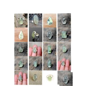 prehnite stone natural gemstone cabochon 925 sterling silver ring