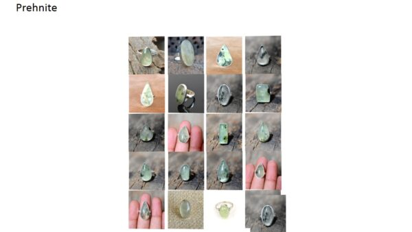 prehnite stone natural gemstone cabochon 925 sterling silver ring