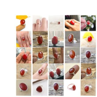 red onyx stone haqiq gemstone cabochon 925 sterling silver ring