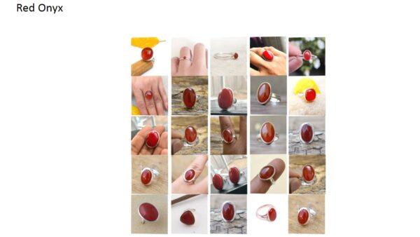 red onyx stone haqiq gemstone cabochon 925 sterling silver ring
