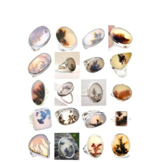 scenic agate dendritic quartz stone natural gemstone cabochon 925 sterling silver ring