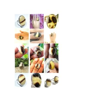 septarian crystal stone natural gemstone cabochon 925 sterling silver ring