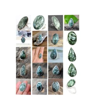 seraphinite stone natural gemstone cabochon 925 sterling silver ring