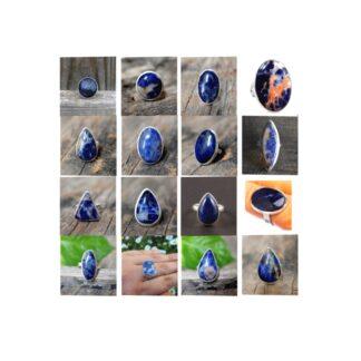 sodalite stone natural gemstone cabochon 925 sterling silver ring