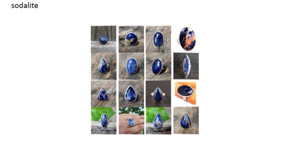 sodalite stone natural gemstone cabochon 925 sterling silver ring