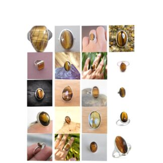 tiger eye stone natural gemstone cabochon 925 sterling silver ring