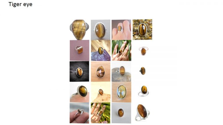 tiger eye stone natural gemstone cabochon 925 sterling silver ring