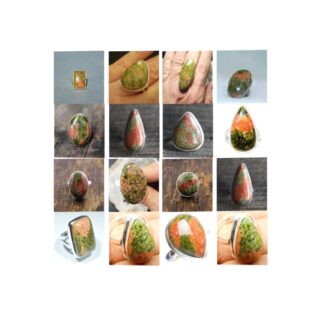 unakite stone natural gemstone cabochon 925 sterling silver ring