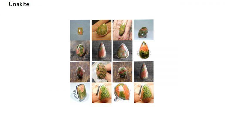 unakite stone natural gemstone cabochon 925 sterling silver ring