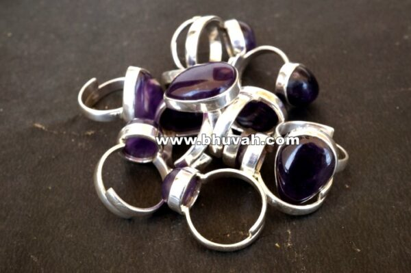 amethyst stone natural gemstone cabochon 925 sterling silver adjustable size ring