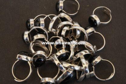 black onyx stone gemstone cabochon 925 sterling silver adjustable ring size