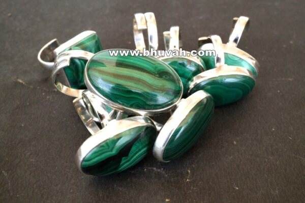 malachite stone gemstone natural cabochon 925 sterling silver adjustable size ring