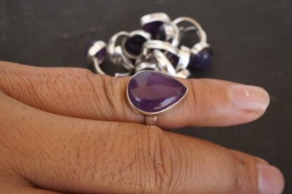 mix natural stone gemstone cabochon 925 sterling silver adjustable size ring