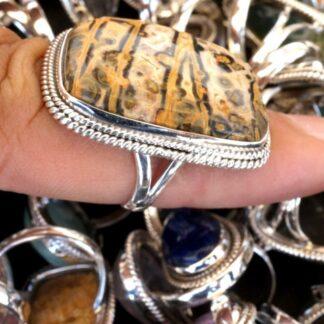 mix natural stone gemstone cabochon 925 sterling silver designer ring