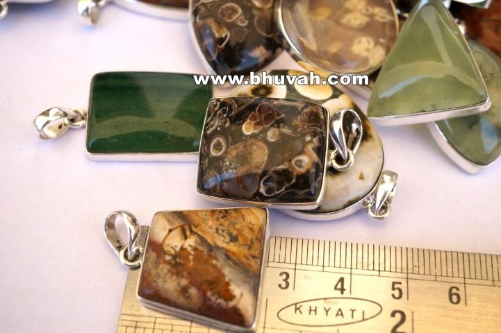 mix stone natural gemstone cabochon 925 silver pendant