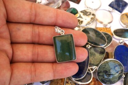 mix stone natural gemstone cabochon 925 silver pendant