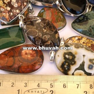 mix stone natural gemstone cabochon 925 sterling silver pendant