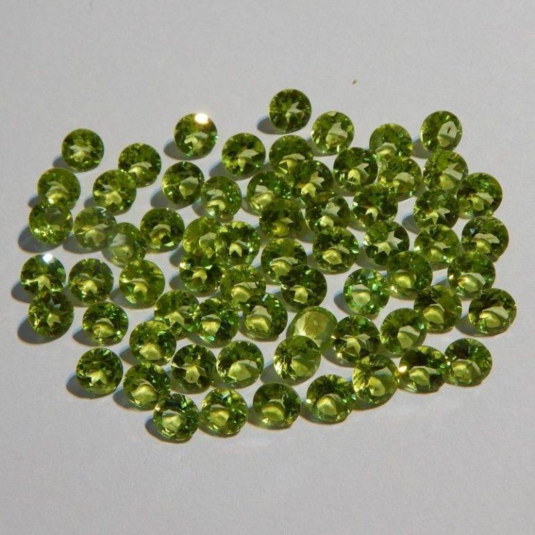 Natural Peridot 3mm Round Faceted Cut Stone Per Carat Price