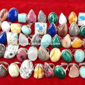 Natural Stone Gemstone Cabochon Mix Ring Wholesale Lot